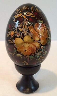 VTG Russian Solid Wood Hand Painted & Lacquered Floral Easter Egg With Stand