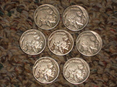 1926p,1935p,1936p,1936D,1937p,1937D,1937S, Buffalo Nickels, Circulated Lot of 7