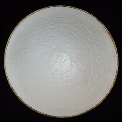 "Old Chinese ""Ding"" Kiln White Glaze Phoenix Carving Gilt Mouth Porcelain Bowl"