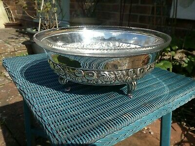 Vintage Silver Plate Fruit Bowl With Glass Liner Retro