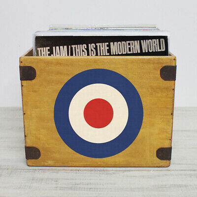 "Mod Target Record Box Large 80 Album Crate 12"" Vintage Vinyl The Who The Jam"