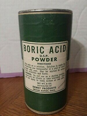 Vintage Dewey Products USP Boric Acid Powder Cardboard Container With Contents