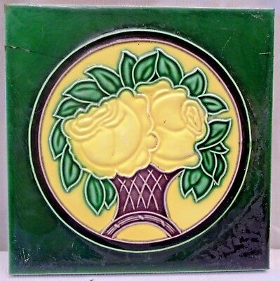 Tile Japan Art Nouveau Majolica Porcelain Rose Tree Yellow Design Vintage  # 63