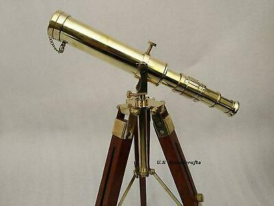 Nautical Vintage Marine Brass Replica Maritime Telescope With Tripod Wood Stand