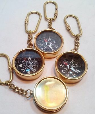 Lot Of 4 Pcs Nautical Maritime Vintage Style Brass Pocket Compass Key Chain Gift
