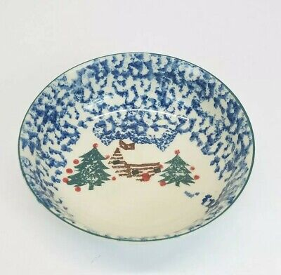 """Folk Craft CABIN IN THE SNOW ~ 7"""" Round Cereal Bowl by Tienshan"""