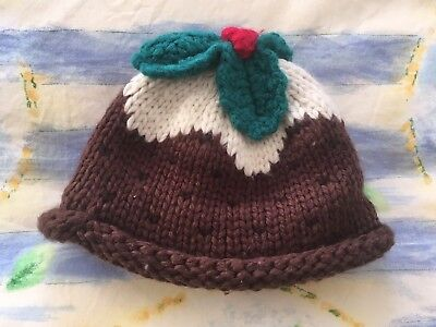Next Christmas Puddding Baby Wolly Hat 3-6 Months