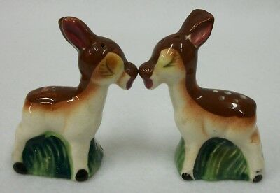 Vintage Sonsco Japan Kissing Deer Spotted Fawn Salt and Pepper Shakers