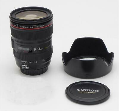 EXCELLENT Canon EF 24-105mm F/4L IS USM Lens + Canon Hood - Fast Shipping