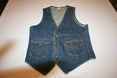 VTG Levi Straus & Co. Denim Jean Vest Orange Tab Made USA 60505-0217 Small
