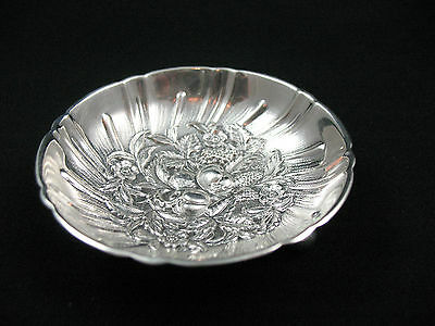 S. Kirk & Son Repoussee Sterling Silver Baltimore Rose #43 Footed Butter Pat