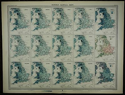 1903 Antique Map ~ England & Wales Monthly Rainfall Annual Driest Wettest