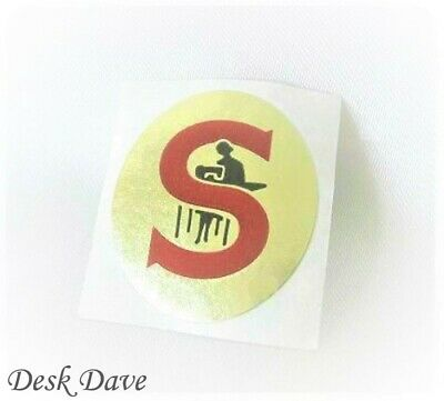 "New Replacement White ""Red S"" Gold Badge for SINGER Featherweight 221 Machines"
