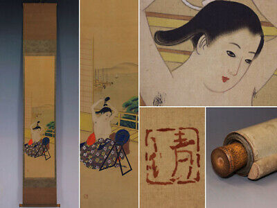 JAPANESE PAINTING HANGING SCROLL JAPAN BEAUTY WOMAN LADY ANTIQUE ORIGINAL 717i