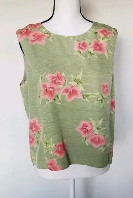 0678cdf6 TOMMY BAHAMA WOMENS silk tank top Tropical floral Blouse Large 12-14 ...