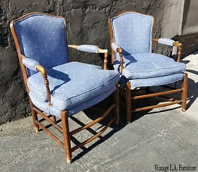 Pair Vintage French Country Style Blue Down Cushion Accent Chairs ~ Chic Shabby