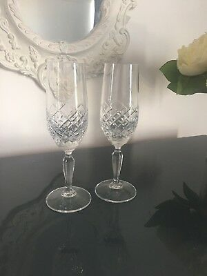 A Pair Of Stuart Crystal Champagne Flutes Glasses