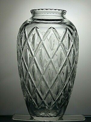 "Large Lovely Heavy Lead Crystal Cut Glass Vase 13""( 32.5 Cm ) Tall"
