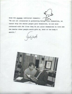 FANTASTIC! Lawrence Ferlinghetti drawing quote with photo!!!!! - SIGNED, CITY LI
