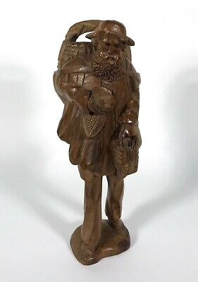 Vintage Hand Carved Wood Traveler Hobo Man Figurine Statue Art Folk