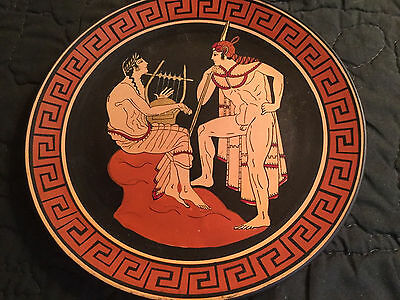 "Vtg 7"" GREEK  Decor PLATE Orpheus lyre music Berlin Museum hand made Mythology"