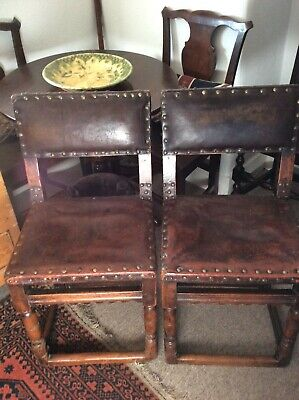 Late 17Th Early 18Th Century Puritanical Oak/leather Chairs A Pair...