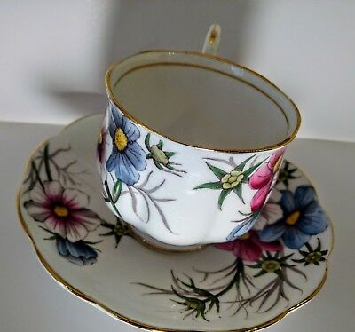 Cup Saucer Cosmos Flower Month Series Royal Albert Bone China England Tea Coffee