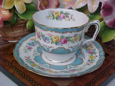 Vintage Crown Staffordshire Turquois Blue Bone China Tea Cup & Saucer