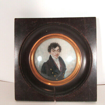 Antique C1824 Signed Abel Hand Painted Portrait Miniature in Frame