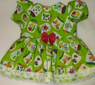 """Fits 14"""" 15"""" Bitty Baby Twin doll clothes BUGS in JARS dress diaper 2 pc set"""
