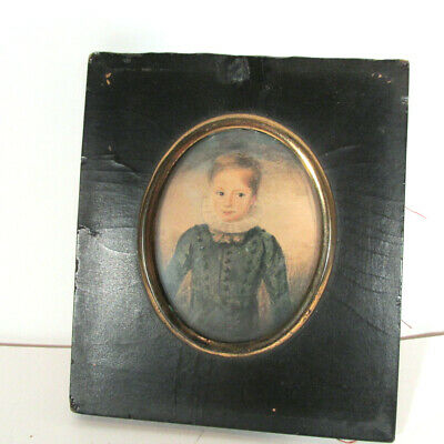 Antique Hand Painted Portrait Miniature in Frame
