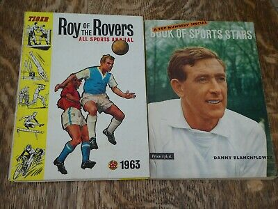 TIGER ROY OF THE ROVERS 1963 SPORTS ANNUAL AND BOOK OF SPORTS STARS 1962-2 books