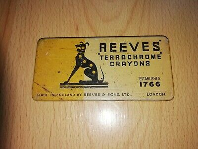Original Reeves 'Terrachrome' crayon tin with paper inner and three crayons.