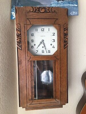 French Antique Wall Clock Vedette Art Deco Wallnut Westminster Chime
