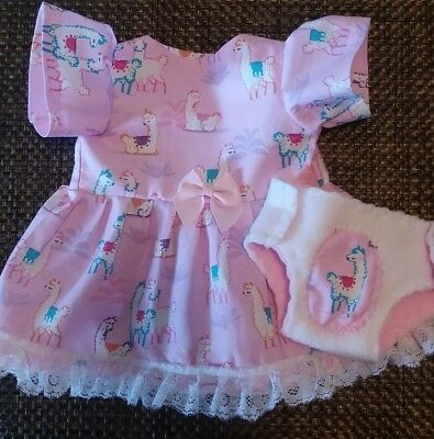 """Fits 14"""" 15"""" Bitty Baby Twin doll clothes cute LLamas dress diaper 2 pc set"""