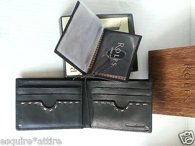 ROLFS Men Genuine Leather Black Wallet Flip Open New in Box Made in India