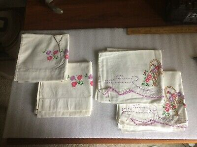 Antique Embroidered Pillow Shams 2 Pair