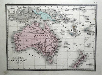 AUSTRALIA NEW ZEALAND NEW GUINEA MELANESIE Original Antique Vintage Map c1850
