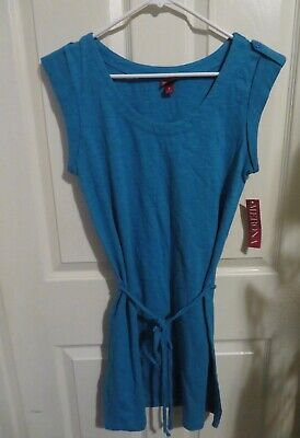 4ae38c0157 New Women's Merona Turquoise Blue Tank Top Shirt Dress w/Braided Belt Size  Small