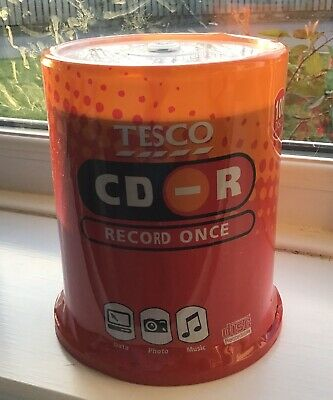 100 CD-R tesco computer pc writable recordable once discs spindle new sealed