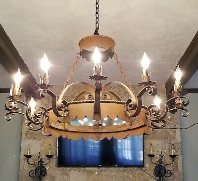 "Antique Wrought Iron Chandelier Large 12 Light Gothic Medieval Spanish 41"" Wide"