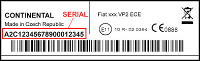 Radio Code Continental Fiat  - Vp1 Vp2 Unlock Key Serial~ A2C