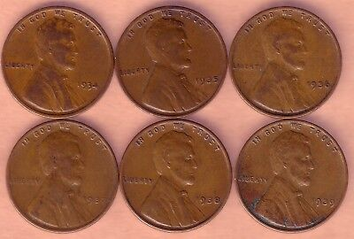 Lot of 6 Early Lincoln Cents 1934P,1935P,1936P,1937P,1938P,1939P.