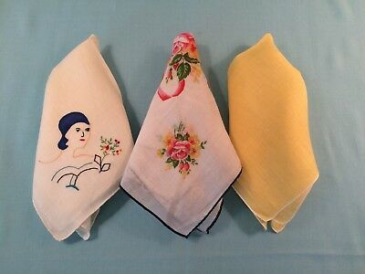 Vtg 1950-60's Set of 3 Handkerchief Hankies, Rolled Edge-solid-embroidered-print