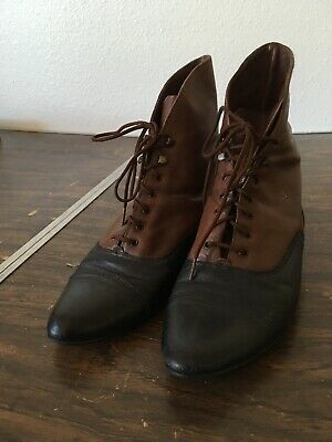 9718c8b77880 VTG 2 Tone Leather Ankle Boots Size 7 Granny Steampunk Victorian Inspired