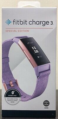 FITBIT CHARGE 3 Special Edition Fitness NFC Lavender Woven + S & L Bands  *NEW*