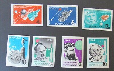 Russia 1964 #2883-2889 MNH OG Russian Space Rocket Pioneers Imperf Set