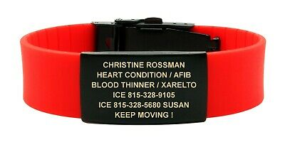 Personalized Medical ID Sport Bracelet Silicone & Stainless for Kids and Adults