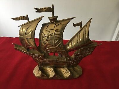 Vintage NVB British Made Brass beautiful brass carved ship sculpture Collectable
