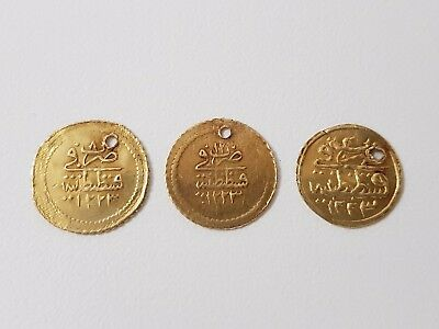 LOT of 3pcs. SMALL OTTOMAN GOLD TURKISH TURKEY ISLAMIC COINS VERY RARE 2.15gram